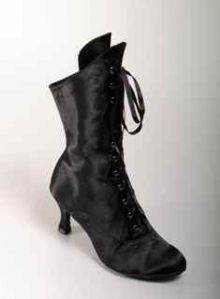 MOULIN ROUGE DANCE BOOTS BLACK SATIN LOW HEEL
